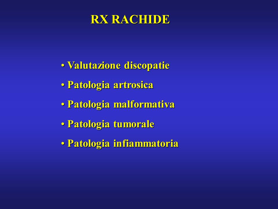 RX RACHIDE Valutazione discopatie Patologia artrosica