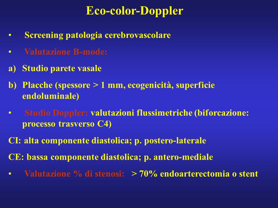 Eco-color-Doppler Screening patologia cerebrovascolare