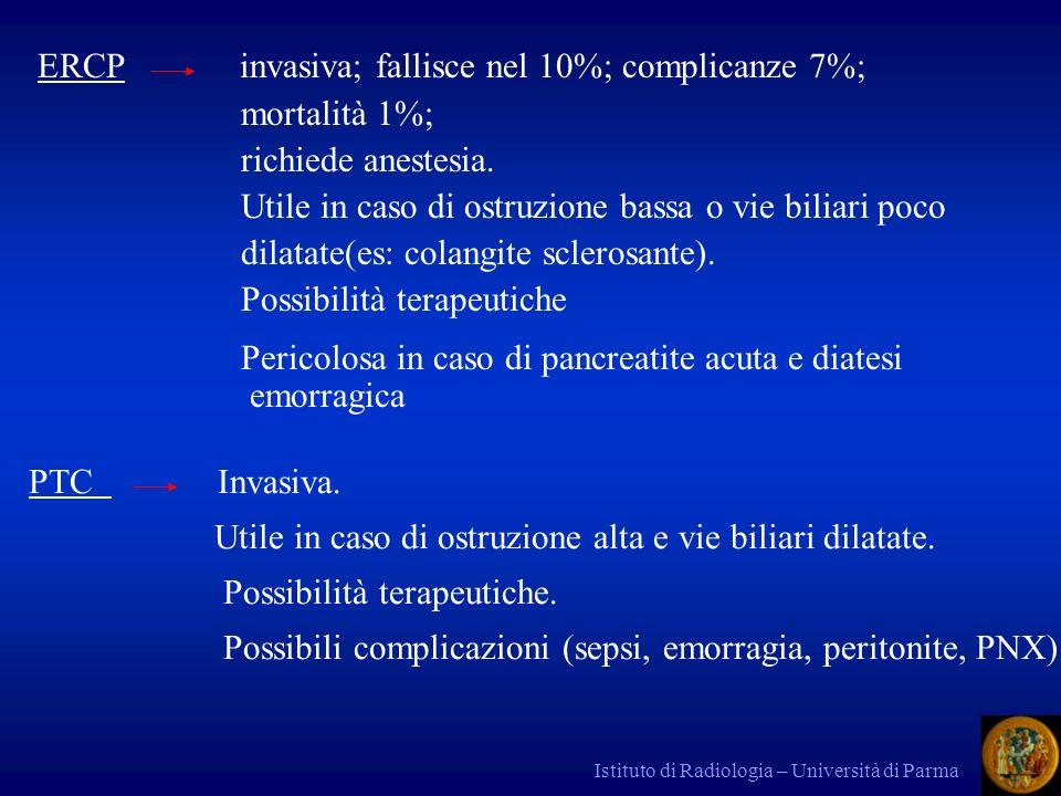 ERCP invasiva; fallisce nel 10%; complicanze 7%; mortalità 1%;