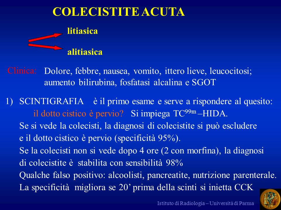 COLECISTITE ACUTA litiasica alitiasica Clinica: