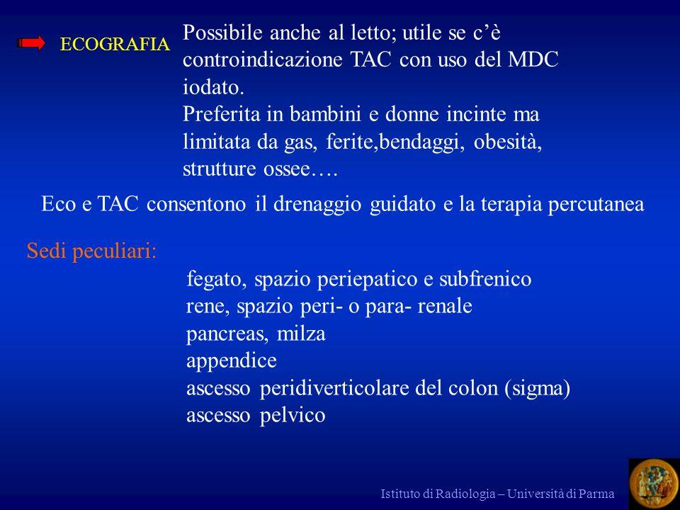 Eco e TAC consentono il drenaggio guidato e la terapia percutanea