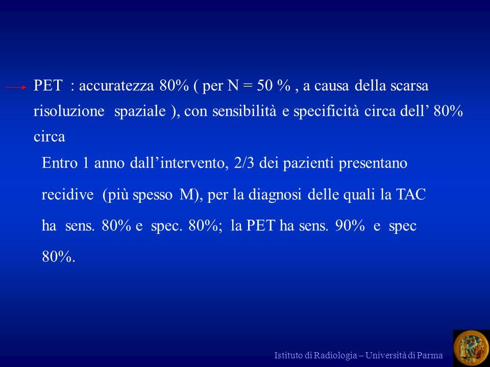 PET : accuratezza 80% ( per N = 50 % , a causa della scarsa risoluzione spaziale ), con sensibilità e specificità circa dell' 80% circa