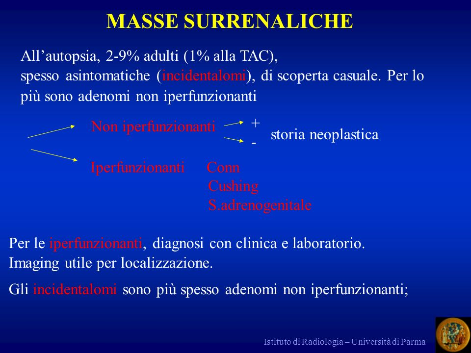 MASSE SURRENALICHE All'autopsia, 2-9% adulti (1% alla TAC),