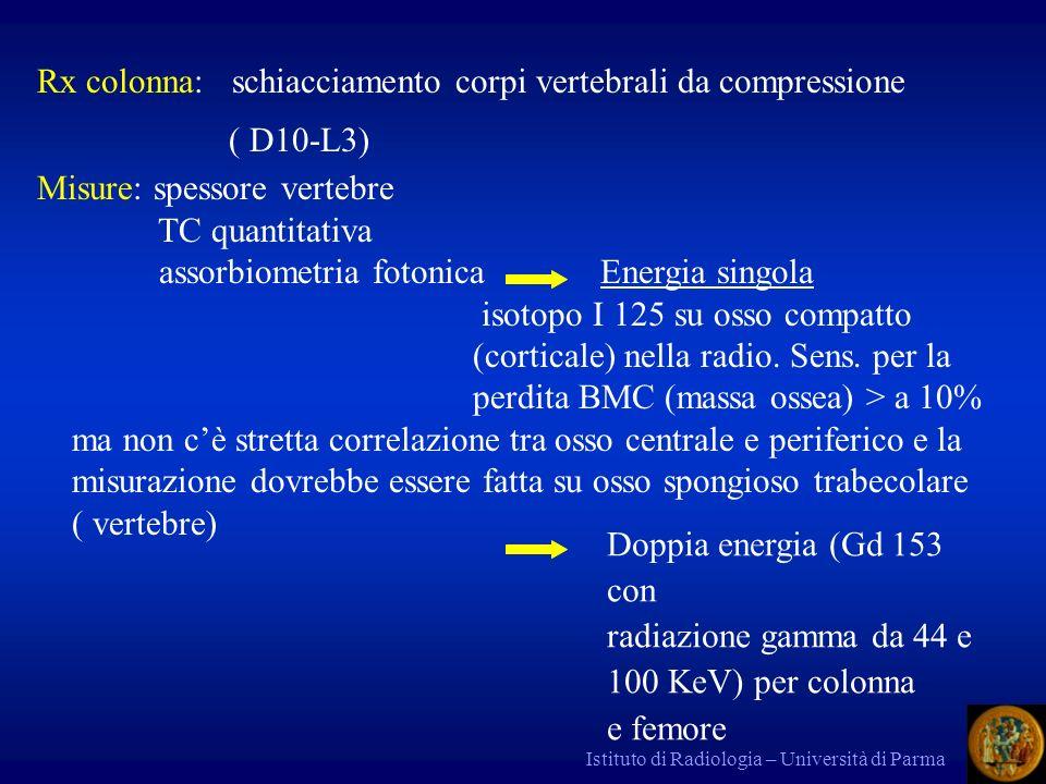 Rx colonna: schiacciamento corpi vertebrali da compressione ( D10-L3)