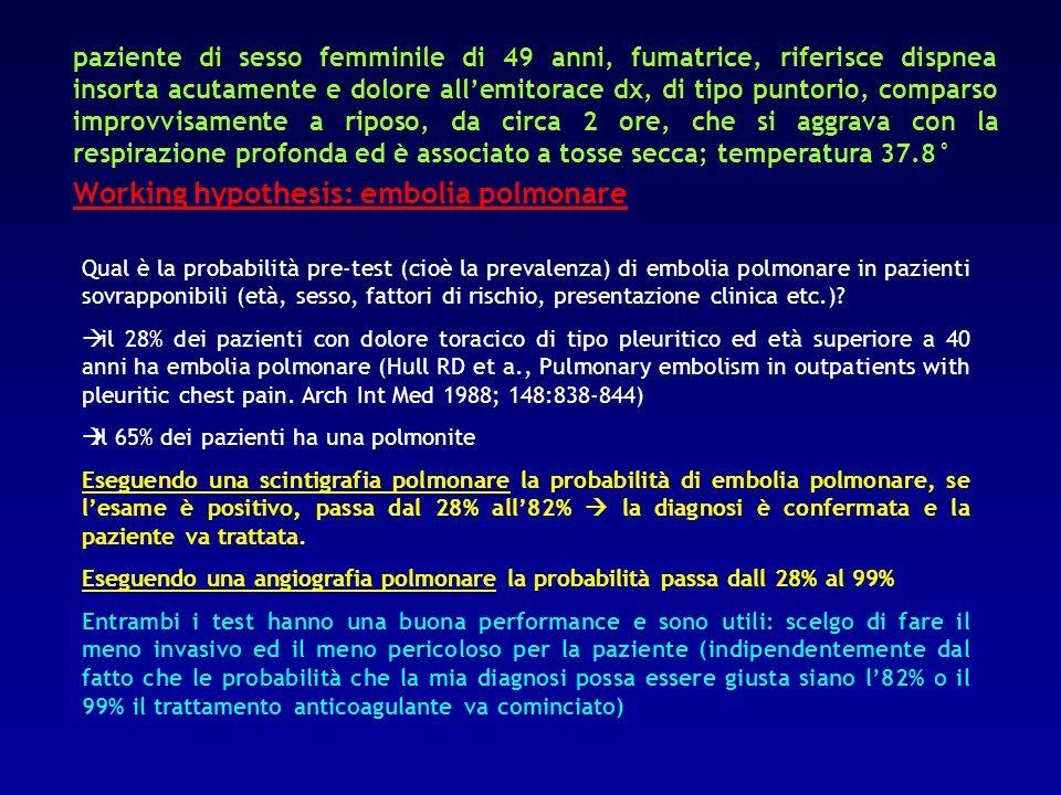 Working hypothesis: embolia polmonare
