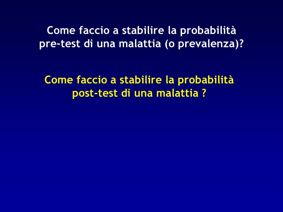 Come faccio a stabilire la probabilità post-test di una malattia