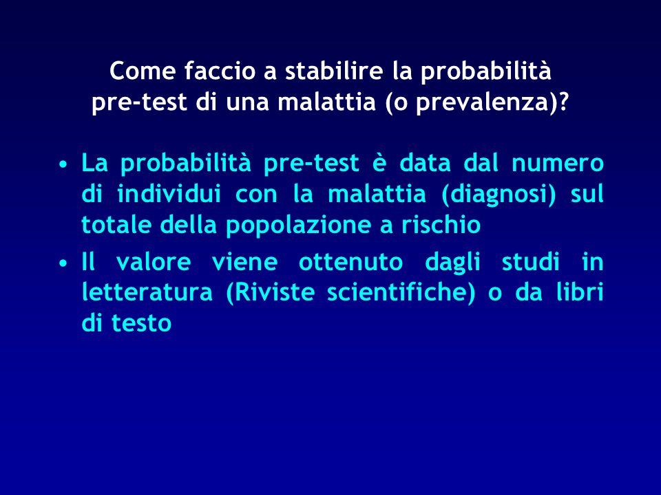Come faccio a stabilire la probabilità pre-test di una malattia (o prevalenza)