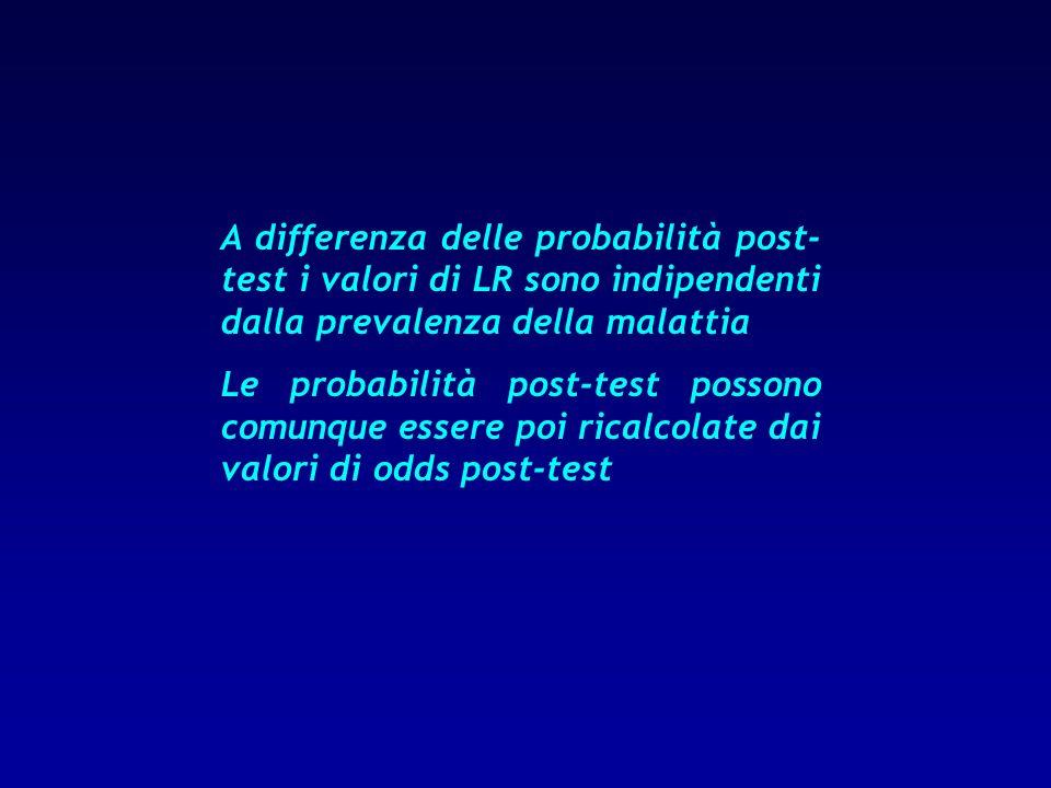 A differenza delle probabilità post-test i valori di LR sono indipendenti dalla prevalenza della malattia