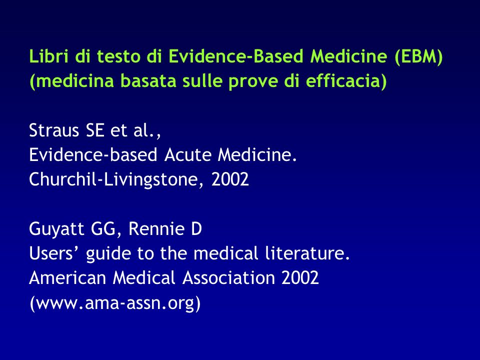 Libri di testo di Evidence-Based Medicine (EBM)