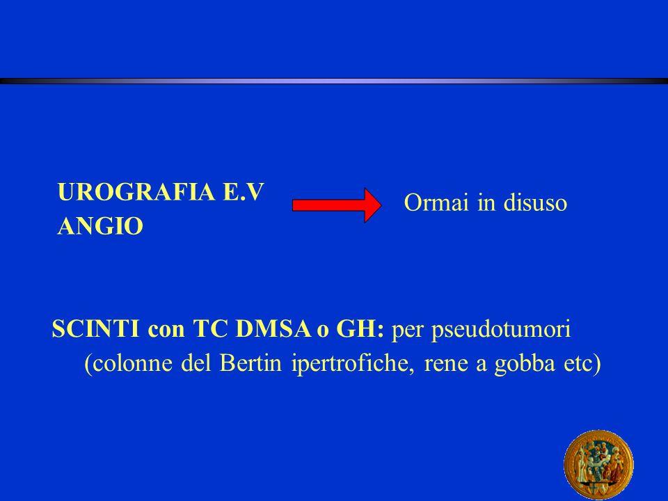 UROGRAFIA E.V ANGIO. Ormai in disuso. SCINTI con TC DMSA o GH: per pseudotumori.