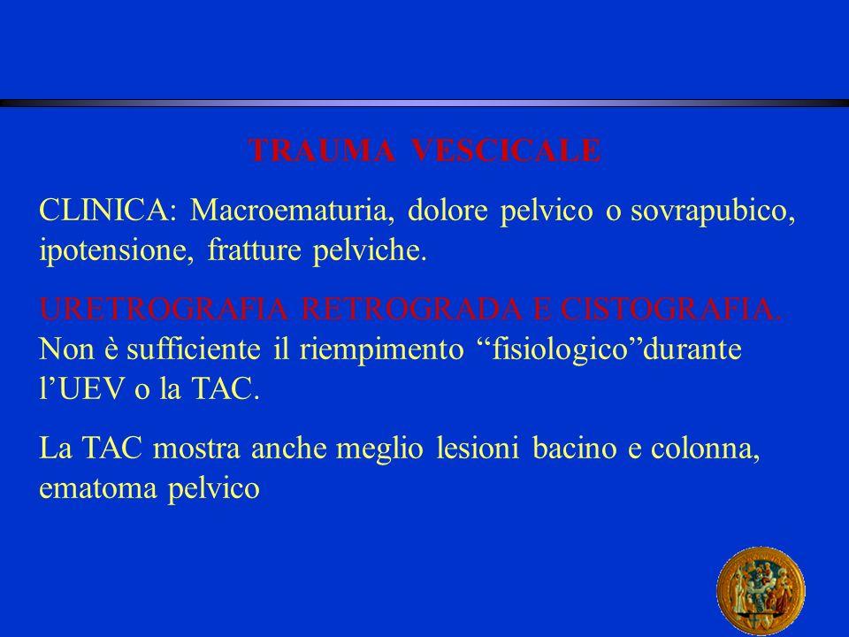 TRAUMA VESCICALE CLINICA: Macroematuria, dolore pelvico o sovrapubico, ipotensione, fratture pelviche.