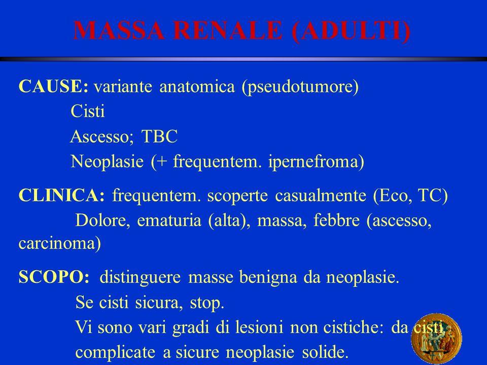 MASSA RENALE (ADULTI) CAUSE: variante anatomica (pseudotumore) Cisti