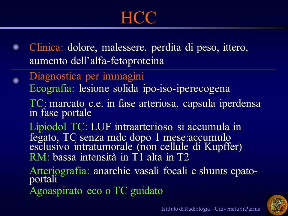 HCC Clinica: dolore, malessere, perdita di peso, ittero, aumento dell'alfa-fetoproteina. Diagnostica per immagini.