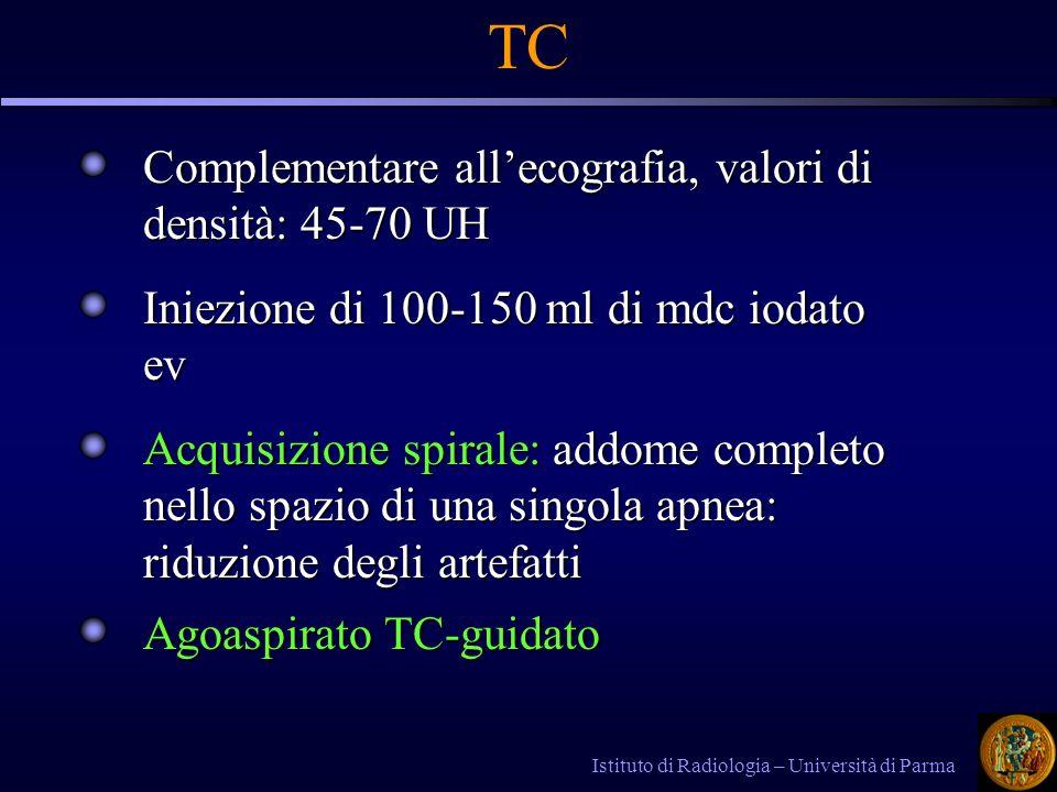 TC Complementare all'ecografia, valori di densità: 45-70 UH