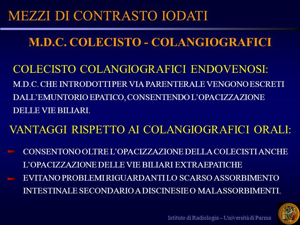 M.D.C. COLECISTO - COLANGIOGRAFICI