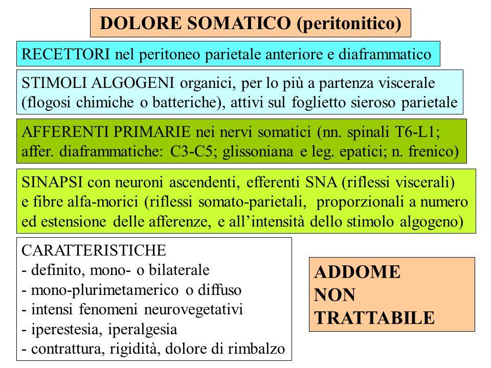 DOLORE SOMATICO (peritonitico)