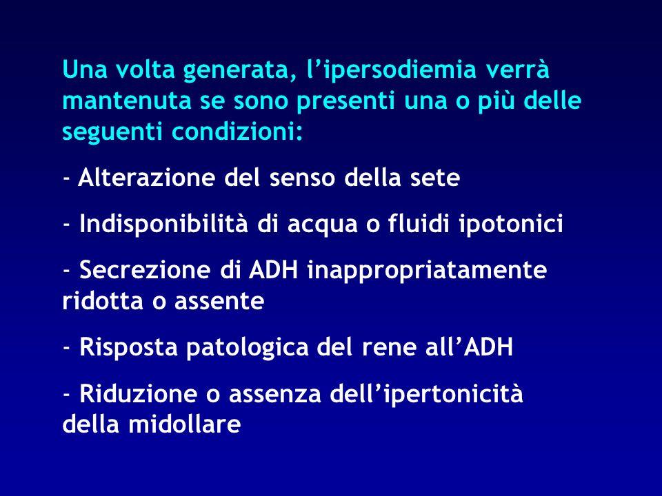 Una volta generata, l'ipersodiemia verrà mantenuta se sono presenti una o più delle seguenti condizioni: