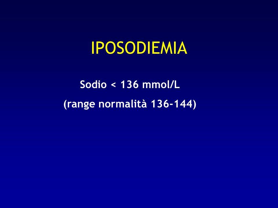 IPOSODIEMIA Sodio < 136 mmol/L (range normalità 136-144)