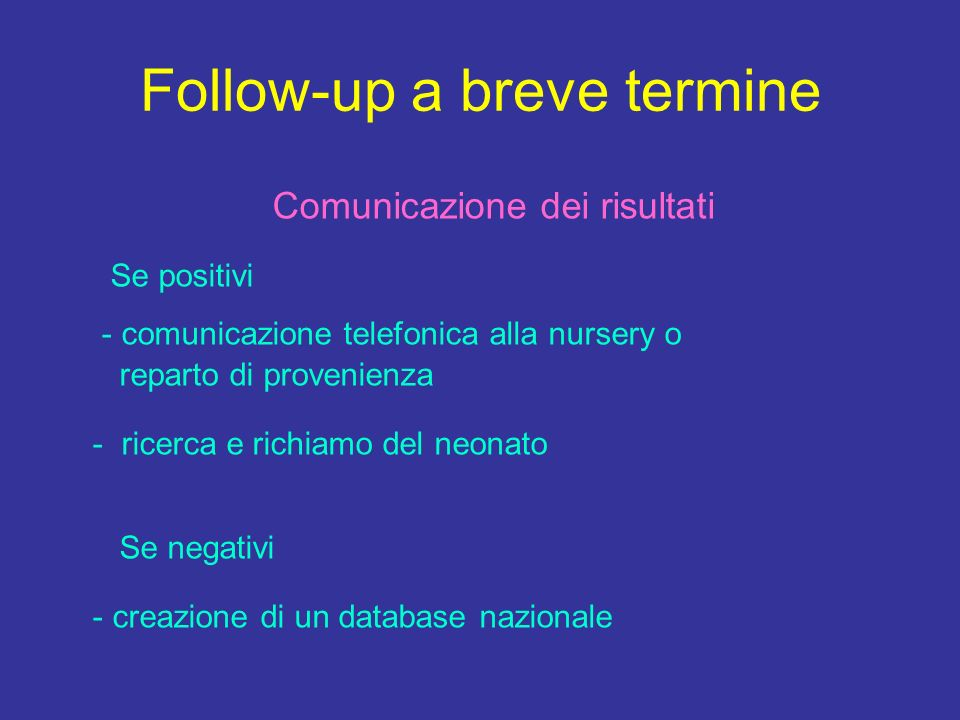 Follow-up a breve termine
