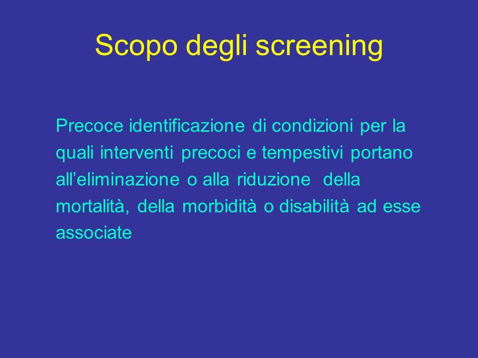 Scopo degli screening Precoce identificazione di condizioni per la