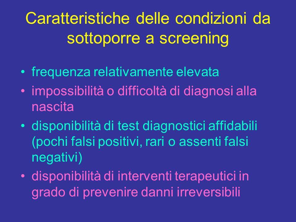 Caratteristiche delle condizioni da sottoporre a screening