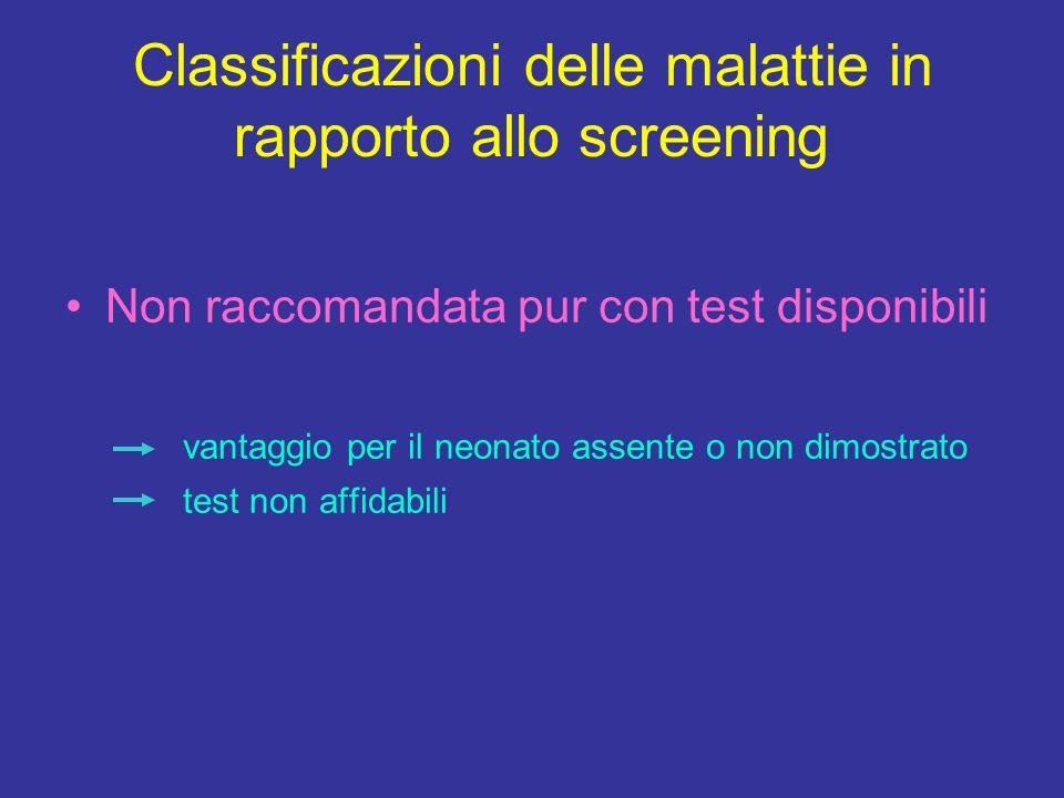 Classificazioni delle malattie in rapporto allo screening