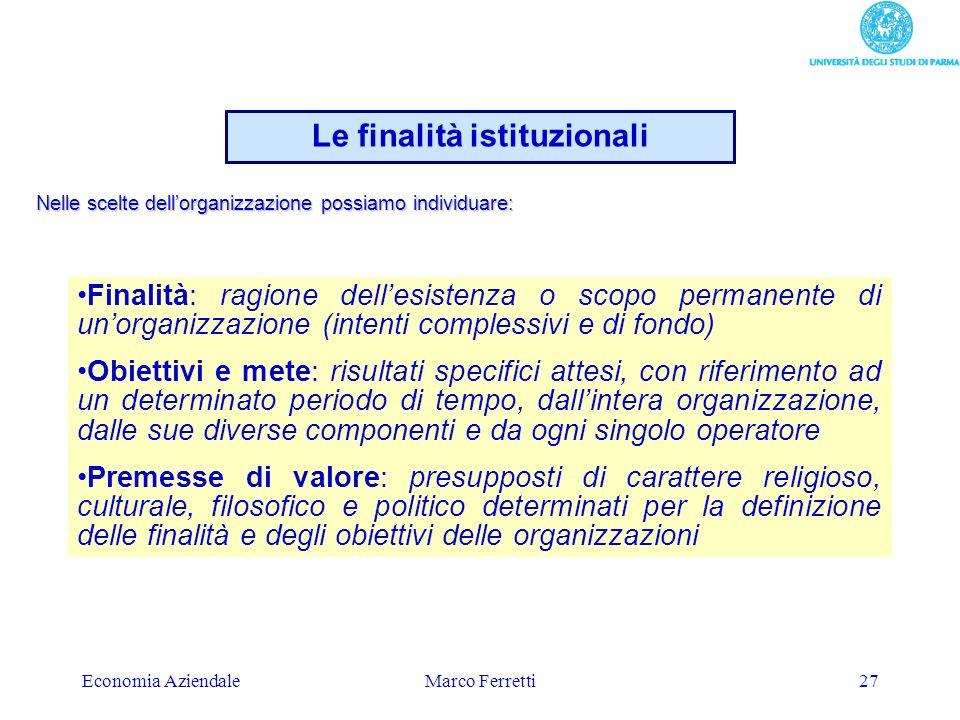 Le finalità istituzionali