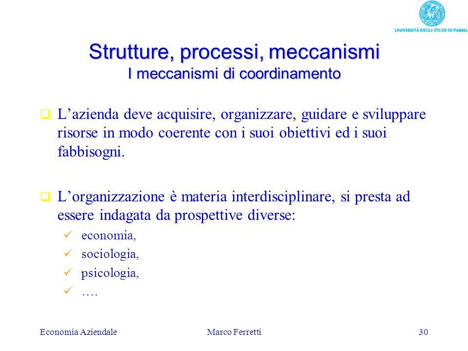 Strutture, processi, meccanismi I meccanismi di coordinamento
