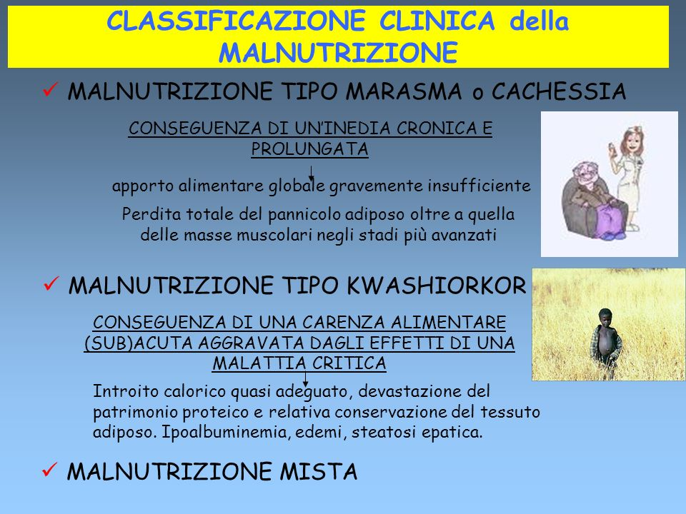 CLASSIFICAZIONE CLINICA della MALNUTRIZIONE