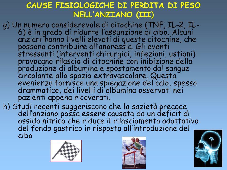 CAUSE FISIOLOGICHE DI PERDITA DI PESO NELL'ANZIANO (III)