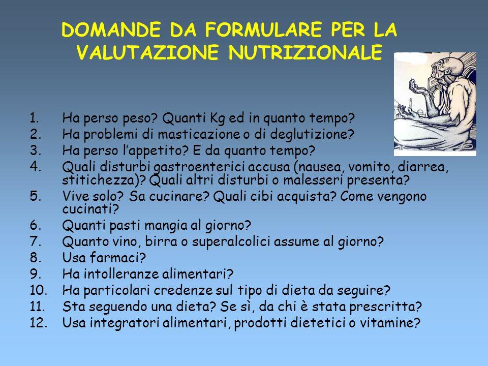 DOMANDE DA FORMULARE PER LA VALUTAZIONE NUTRIZIONALE