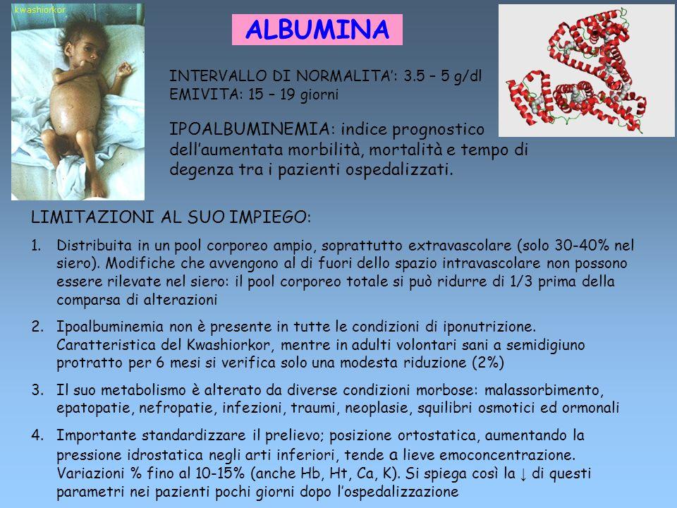 ALBUMINA INTERVALLO DI NORMALITA': 3.5 – 5 g/dl. EMIVITA: 15 – 19 giorni.