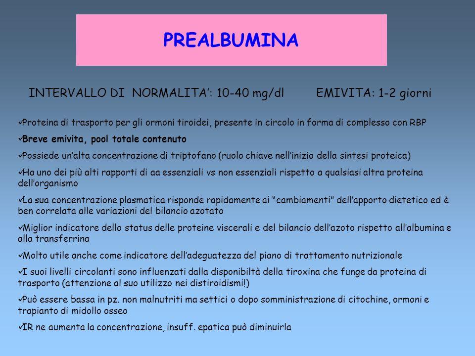 PREALBUMINA INTERVALLO DI NORMALITA': 10-40 mg/dl EMIVITA: 1-2 giorni