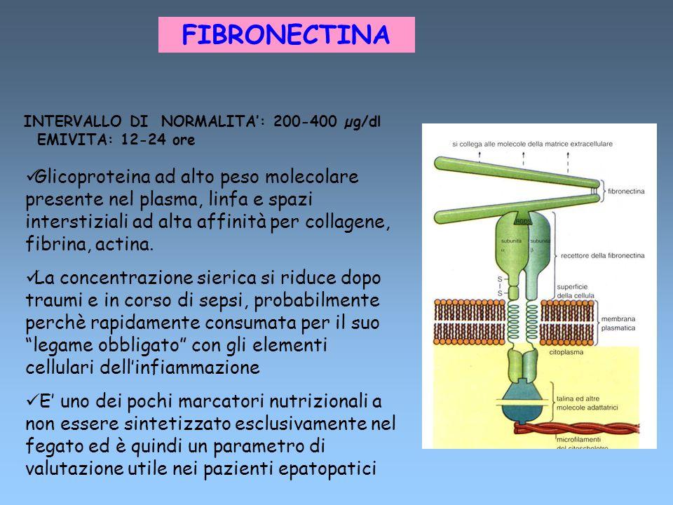 FIBRONECTINA INTERVALLO DI NORMALITA': 200-400 µg/dl. EMIVITA: 12-24 ore.
