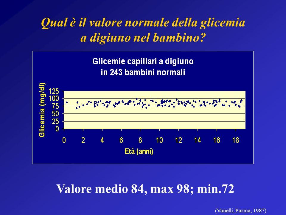 Qual è il valore normale della glicemia a digiuno nel bambino