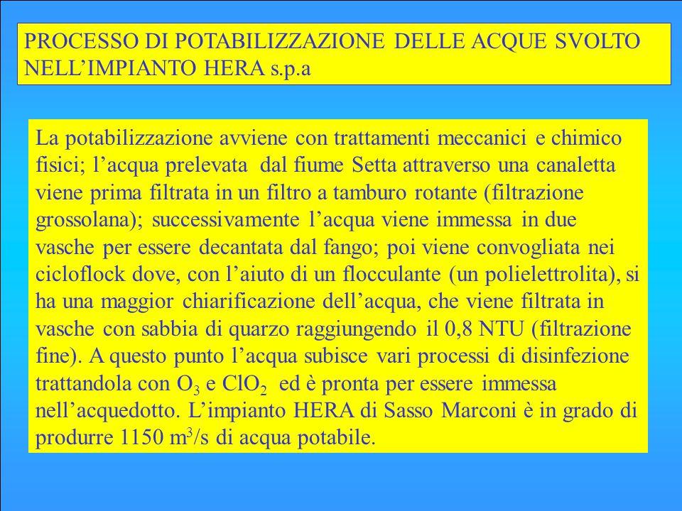 PROCESSO DI POTABILIZZAZIONE DELLE ACQUE SVOLTO NELL'IMPIANTO HERA s.p.a