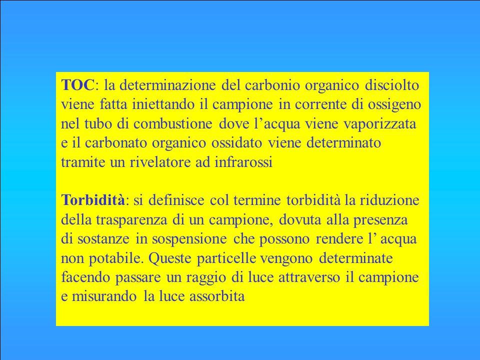 TOC: la determinazione del carbonio organico disciolto viene fatta iniettando il campione in corrente di ossigeno nel tubo di combustione dove l'acqua viene vaporizzata e il carbonato organico ossidato viene determinato tramite un rivelatore ad infrarossi