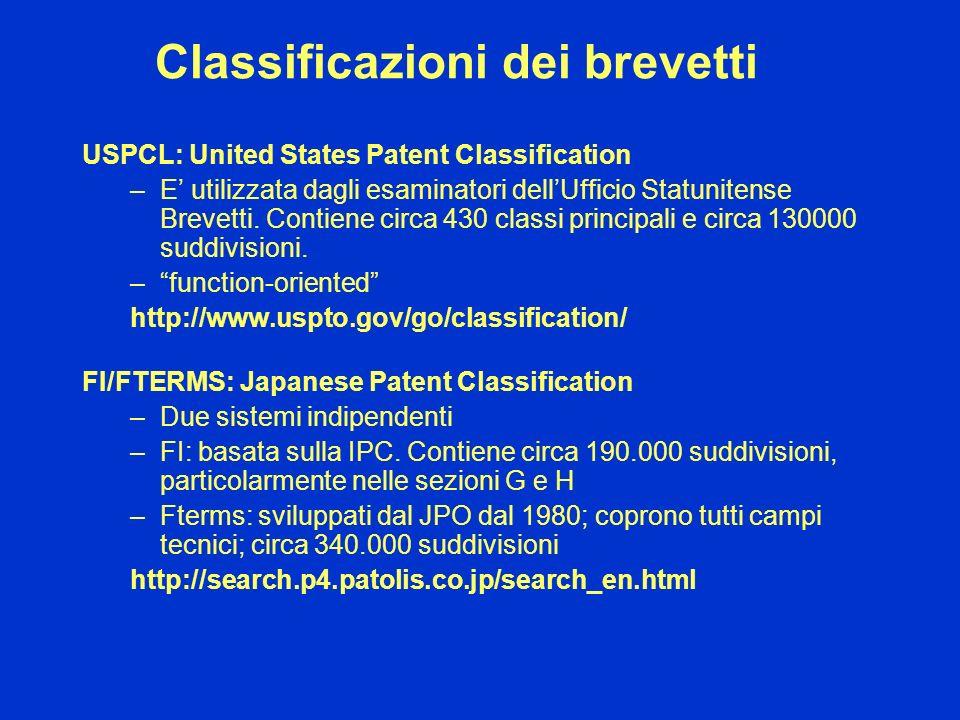 Classificazioni dei brevetti