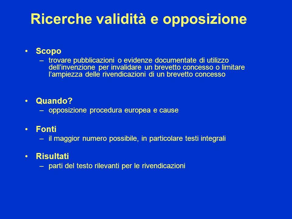 Ricerche validità e opposizione