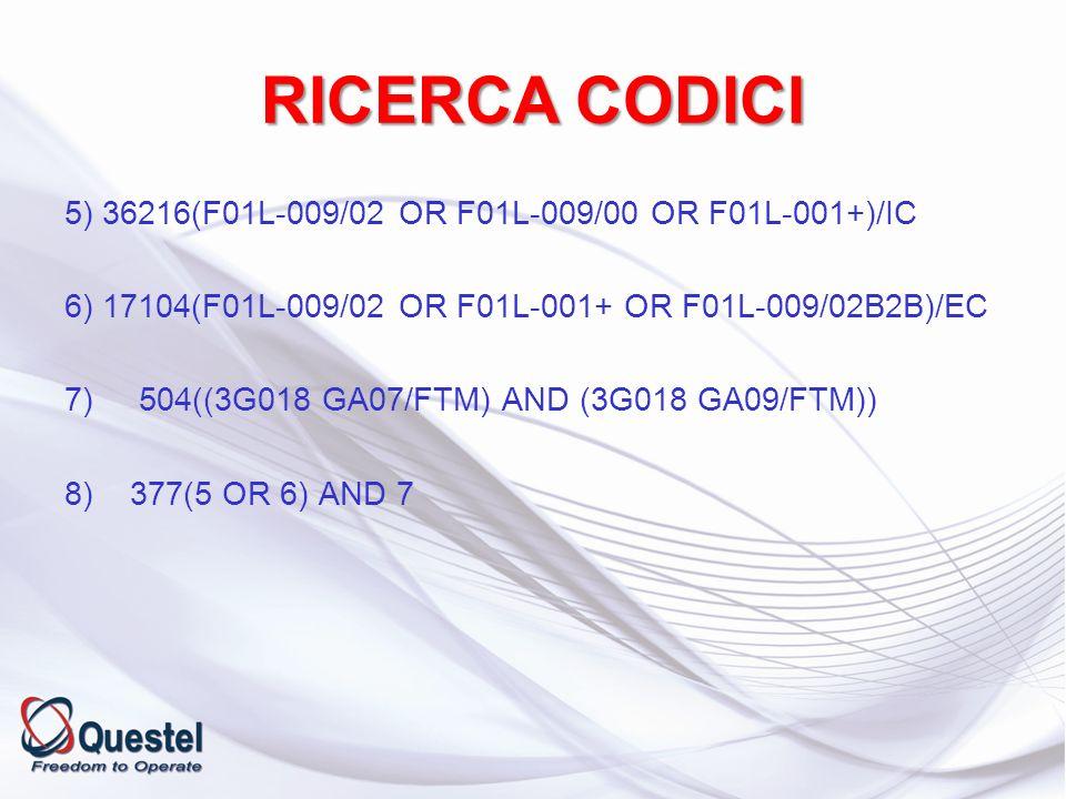 RICERCA CODICI