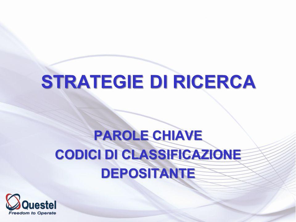 PAROLE CHIAVE CODICI DI CLASSIFICAZIONE DEPOSITANTE