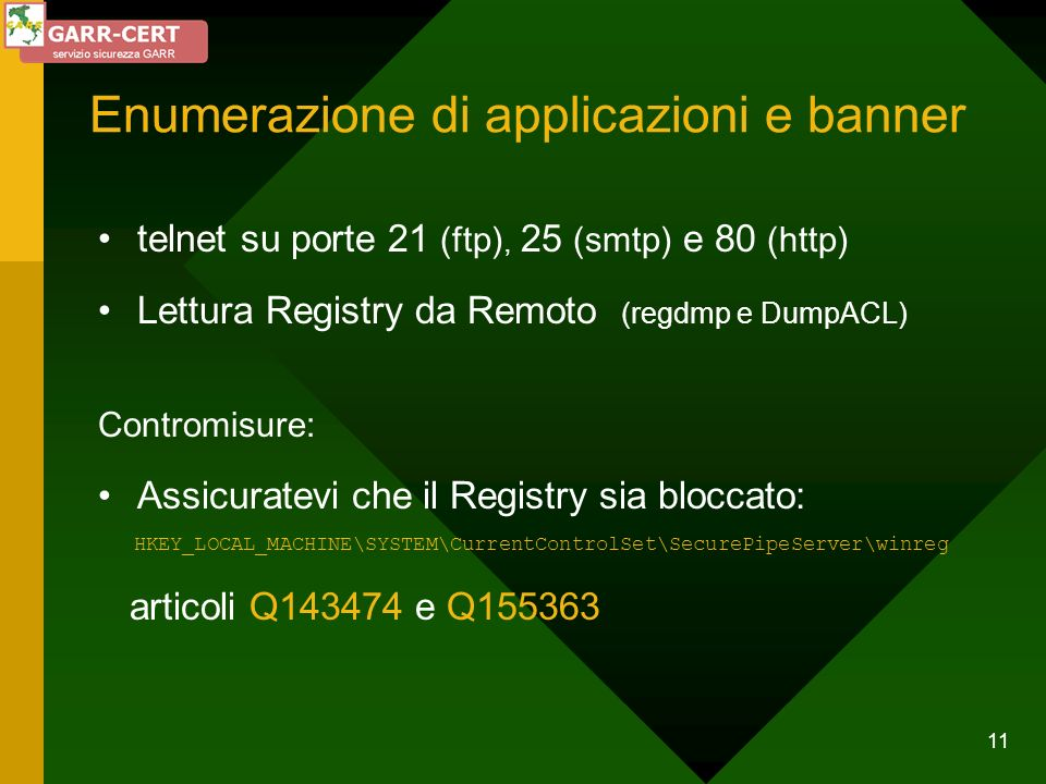 Enumerazione di applicazioni e banner