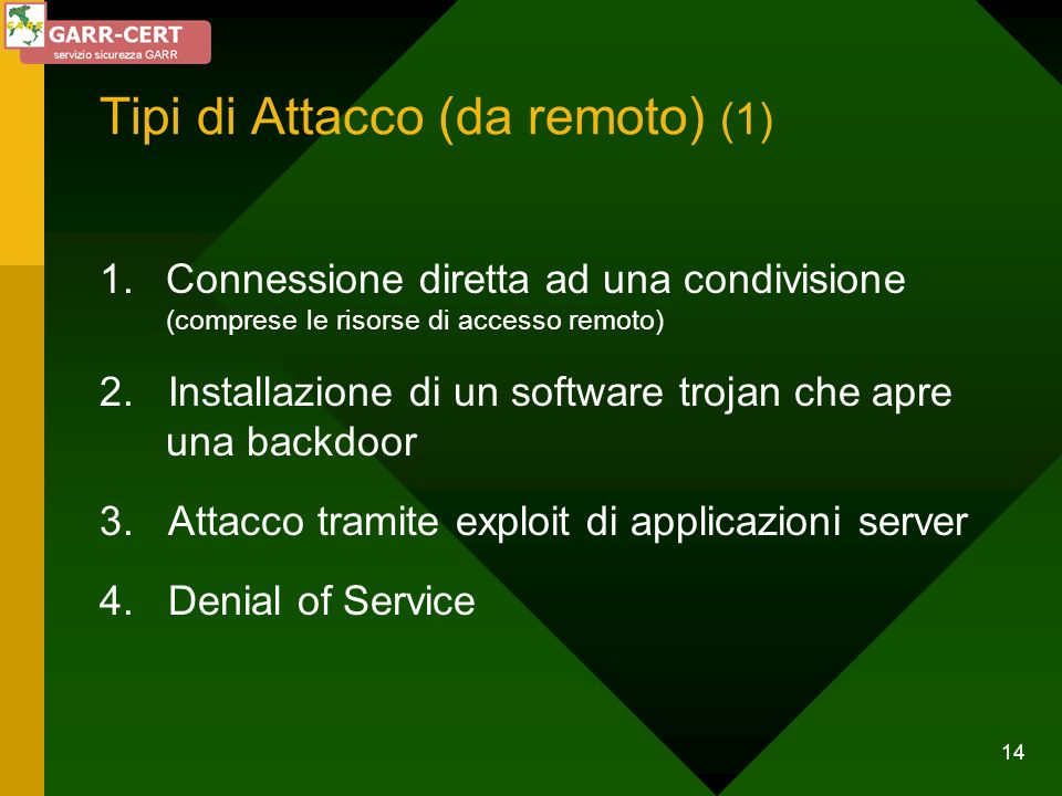 Tipi di Attacco (da remoto) (1)