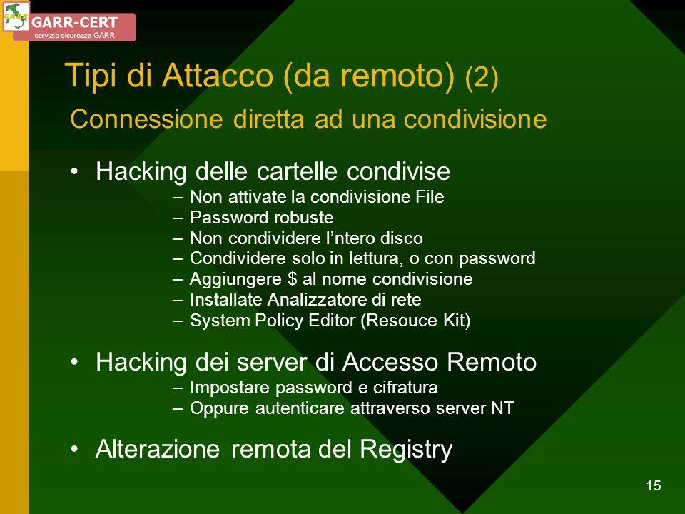Tipi di Attacco (da remoto) (2)