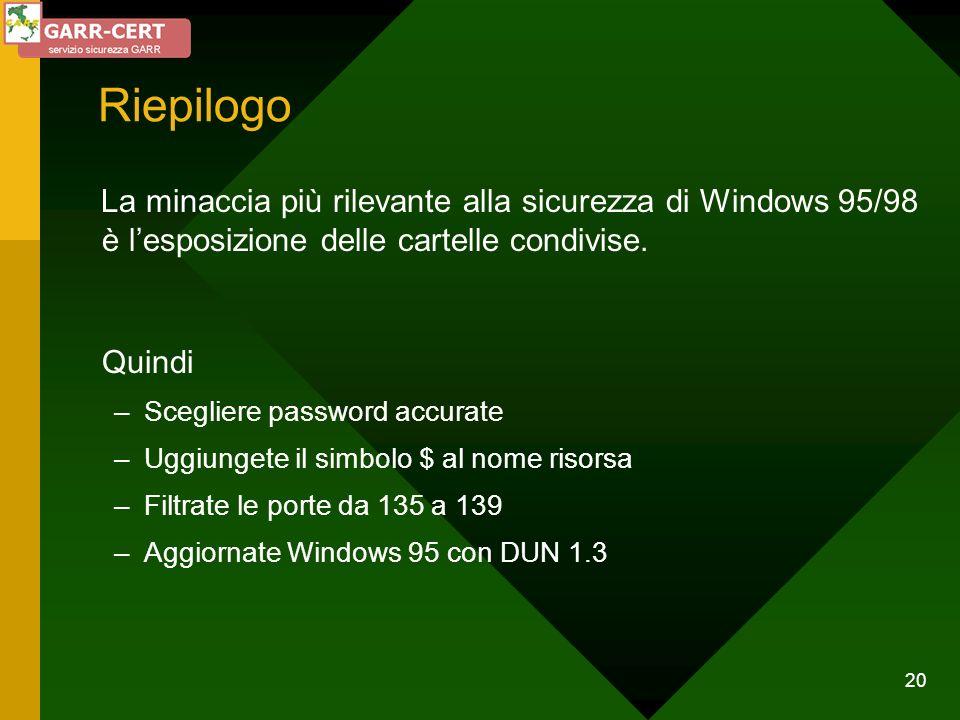 Riepilogo La minaccia più rilevante alla sicurezza di Windows 95/98 è l'esposizione delle cartelle condivise.