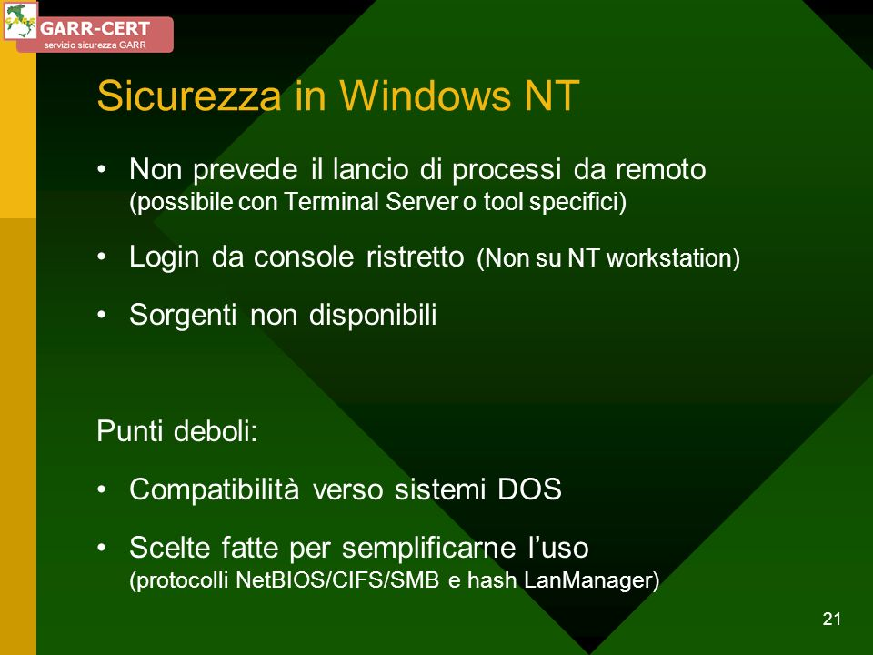 Sicurezza in Windows NT