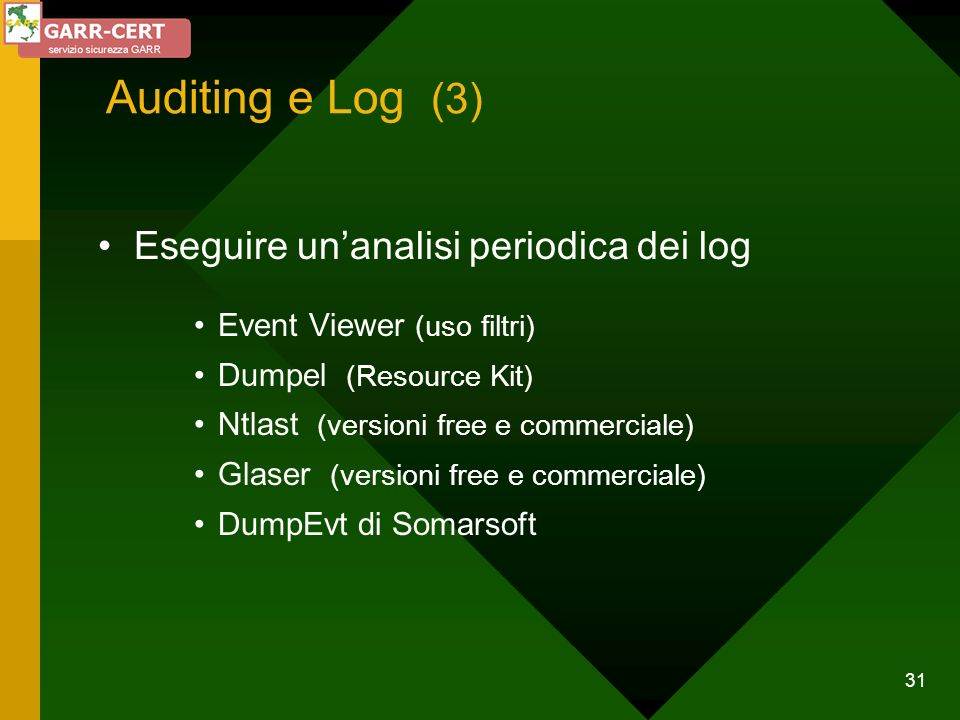 Auditing e Log (3) Eseguire un'analisi periodica dei log