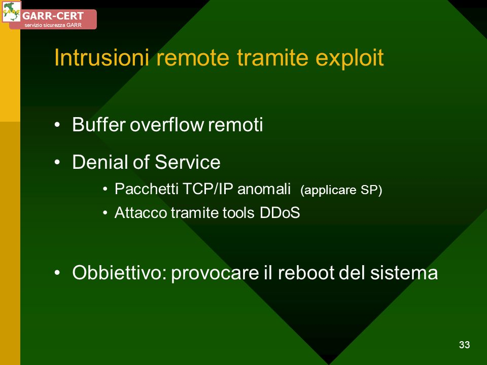 Intrusioni remote tramite exploit