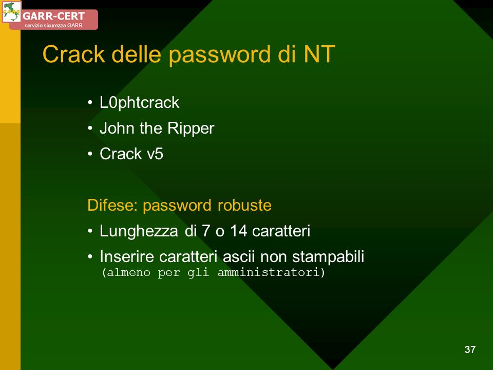 Crack delle password di NT