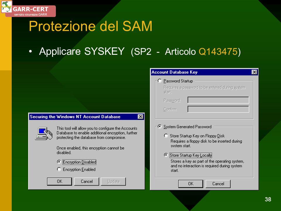 Protezione del SAM Applicare SYSKEY (SP2 - Articolo Q143475)